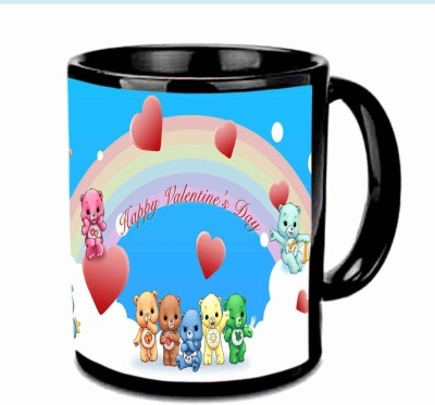 Jiya Creation1 Teddys Heart Valentine Black Ceramic Mug