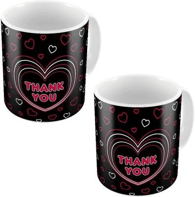 Home India Black Designer Romantic Printed Coffee s Pair 753 Ceramic Mug