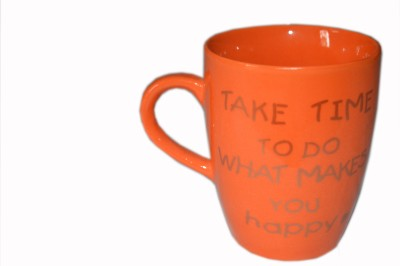 MGPLifestyle Take Time to do what makes you Happy Quote  in Orange Color Ceramic Mug