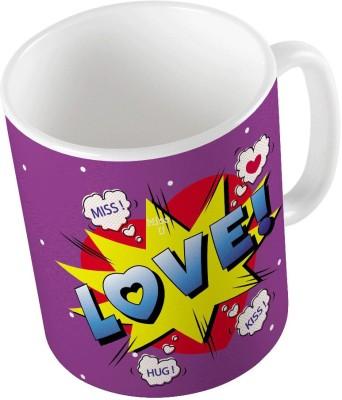 Indiangiftemporium Purple Designer Romantic Printed Coffee  725 Ceramic Mug