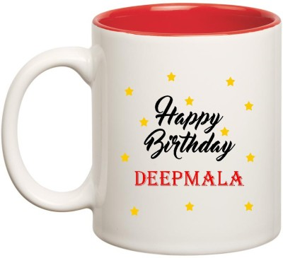 Huppme Happy Birthday Deepmala Inner Red Ceramic  (350ml) Ceramic Mug