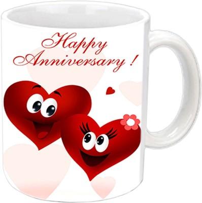 Jiya Creation1 Happy Anniversary With Heart White Ceramic Mug