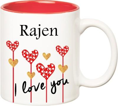 Huppme I Love You Rajen Inner Red  (350 ml) Ceramic Mug