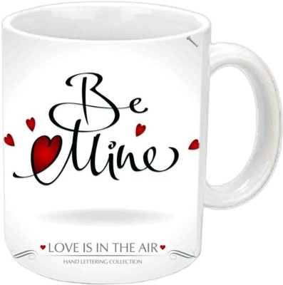 Jiya Creation Be Mine Hearts Valentine White  Ceramic Mug