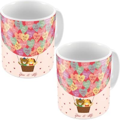 Indiangiftemporium Designer Romantic Printed Coffee s Pair 681 Ceramic Mug