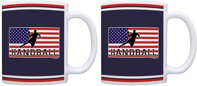 Muggies Magic Handball Gifts American Pride Handball 2 Pack Gift Coffees Tea Cups Flag Ceramic Mug(325 ml)