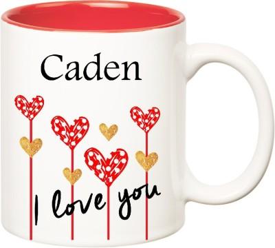 Huppme I Love You Caden Inner Red  (350 ml) Ceramic Mug