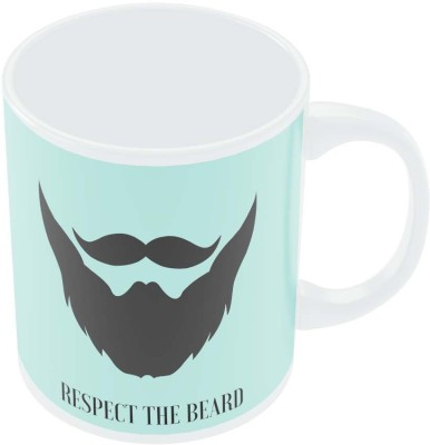 PosterGuy Respect The Beard (Blue) Motivational Porcelain Mug
