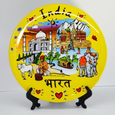 India Souvenirs 8 Inch Yellow Plate with India Subway Design Porcelain Mug