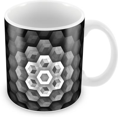 Prinzox Gray 3d Cube Ceramic Mug