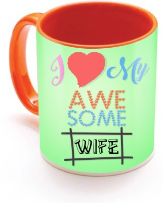 SKY TRENDS GIFT I Love My Awesome Wife With Cute Red Heart Green Color Gifts For Birthday And Anniversary Inner Color Orange Ceramic Mug