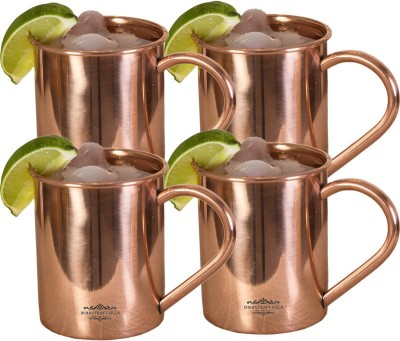Indian Craft Villa IndianCraftVilla Handmade Set Of 4 Moscow Mule Pure Solid Copper Cup  Volume 415 ML For Use Restaurant Ware Bar Ware Beer Hotel Ware Copper Mug