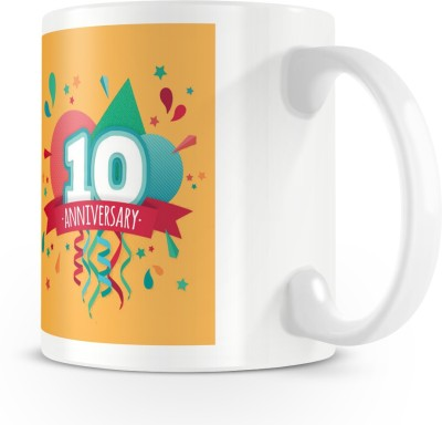 posterchacha Happy 10 Th Anniversary White Tea And Coffee To Give As A Birthday Gift To Loved One Bone China Mug