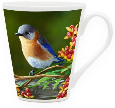 HomeSoGood Colorful Bird Portray Ceramic Mug
