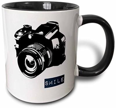 3dRose mug_152056_4 Smile Camera Photographer Art Two Tone Black , 11 oz, Black/White Ceramic Mug