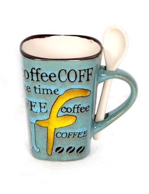 DRL F Coffee Blue Porcelain Mug