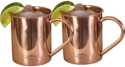 Indian Craft Villa IndianCraftVilla Handmade Set Of 2 Moscow Mule Pure Solid Copper Cup  Volume 415 ML For Use Restaurant Ware Bar Ware Beer Hotel Ware Copper Mug