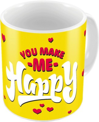 Indiangiftemporium Yellow Designer Romantic Print Coffee  659 Ceramic Mug