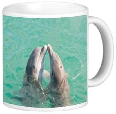 Rikki Knight LLC Knight Ceramic Coffee , Two Dolphins Kissing Ceramic Mug