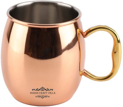 Indian Craft Villa IndianCraftVilla Handmade Copper Nickle Moscow Mule Solid Round  Cup Volume 530 ML for Use Restaurant Ware Beer Bar Ware Hotel Ware Copper Mug