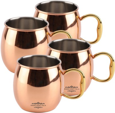 Indian Craft Villa IndianCraftVilla Handmade Copper Nickle Set Of 4 Moscow Mule Solid Round  Cup Volume 530 ML for Use Restaurant Ware Beer Bar Ware Hotel Ware Copper Mug