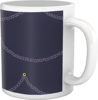 Tiedribbons Shy Shine_Geometric Multicolor_ Chains Pattern Ceramic Mug