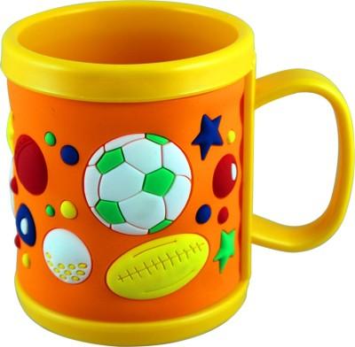 Radius Orange color embossed cartoon mug for kids Plastic Mug