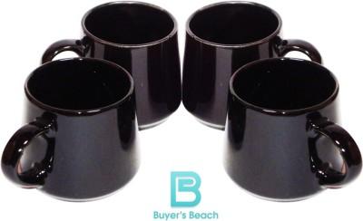 Buyer's Beach Black Tumbler Set of 4 s, 180 ml Ceramic Mug