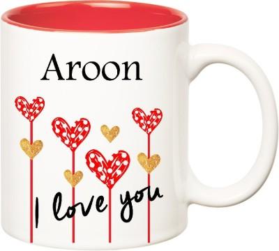 Huppme I Love You Aroon Inner Red  (350 ml) Ceramic Mug