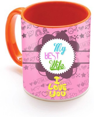 SKY TRENDS GIFT My Best Wife I Love you With Pink Floral Best Gifts For Birthday And Anniversary Inner Color Orange Ceramic Mug