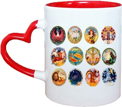 Muggies Magic HOROSCOPE NEW DESIGN LOGO Red Heart Handle 11 Oz Ceramic Mug(325 ml)