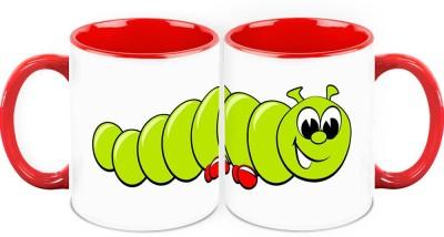 HomeSoGood Caterpillar On A Walk Ceramic Mug