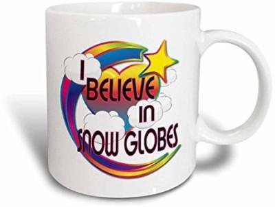 3dRose I Believe in Snow Globes Cute Believer Design Ceramic , 11 oz, White Ceramic Mug