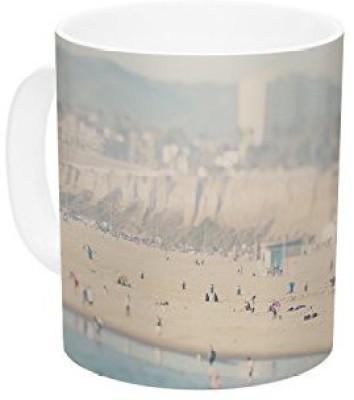 Kess InHouse InHouse Laura Evans Santa Monica Beach Brown Blue Ceramic Coffee , 11 oz, Multicolor Ceramic Mug
