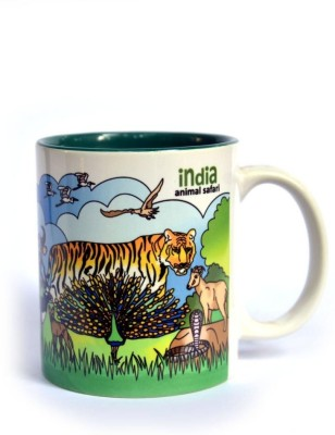 Indiavibes Coffee & Tea India Animal Safari Theme Printed Ceramic Ceramic Mug