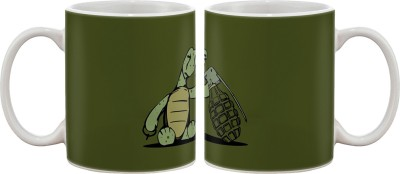 Artifa Turtle With Grenade Art Porcelain, Ceramic Mug