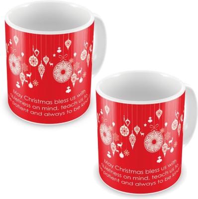 Kiran Udyog Kiran UdyogFancy Printed Design Red Coffee s Pair 588 Ceramic Mug