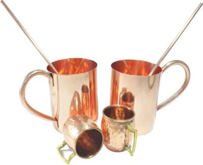 Dakshcraft Cocktail drinkware with shot cups & straw Copper Mug