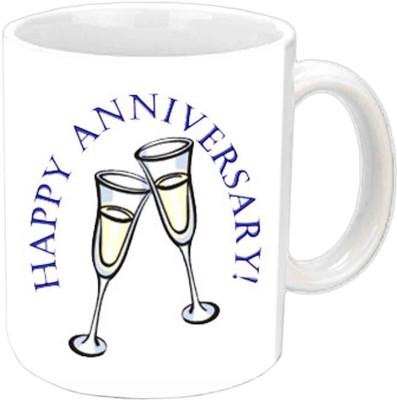 Jiya Creation1 Happy Anniversary With Lovely Design White Ceramic Mug