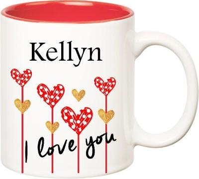 Huppme I Love You Kellyn Inner Red  (350 ml) Ceramic Mug