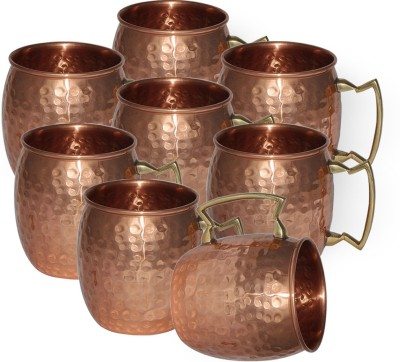 Dakshcraft Small Drinkware,Set of 8 Copper Mug