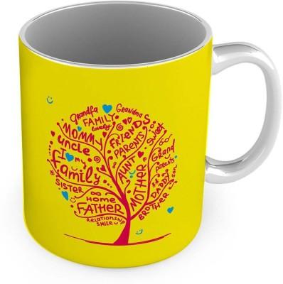 Little India Relationship Tree Printed Design Yellow Coffee  573 Ceramic Mug