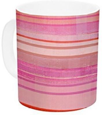 Kess InHouse InHouse CarolLynn Tice Strawberry Shortcake Pink Stripes Ceramic Coffee , 11 oz, Multicolor Ceramic Mug