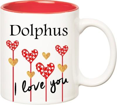 Huppme I Love You Dolphus Inner Red  (350 ml) Ceramic Mug