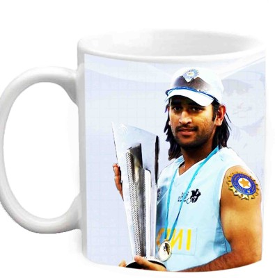 Jiya Creation1 MS Dhoni With T20 World Cup Trophy Multicolor White Ceramic Mug