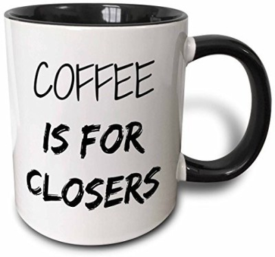 3dRose mug_218481_4 Coffee is for Closers Two Tone Black , 11 oz, Black/White Ceramic Mug