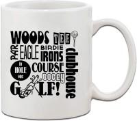Muggies Magic WOODS, TEE, BIRDIE IRONS COURSE BOGEY, GOLF Ceramic Coffee Tea Cup 11 Oz Ceramic Mug