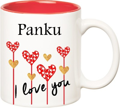 Huppme I Love You Panku Inner Red  (350 ml) Ceramic Mug