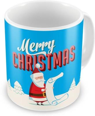 Indian Gift Emporium Fancy Santa Printed Blue Coffee  611 Ceramic Mug