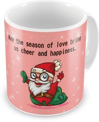 Kiran Udyog Kiran UdyogCute Santa Print Design Pink Coffe  605 Ceramic Mug
